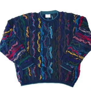 Coogi Sweater Cotton XL Vtg Colorful Navy Blue